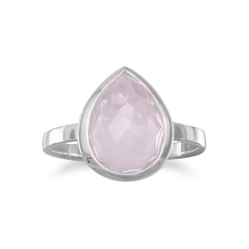Large Freeform Faceted Pear Shape Rose Quartz Stackable Ring in Sterling Silver