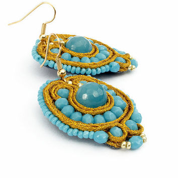 Boho beaded earrings agate Casual jewelry Soutache gold blue dangle earrings Gift for her Embroidered jewelry Small turquoise earrings woman