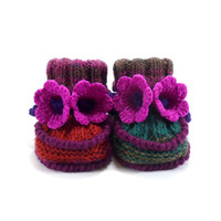 Baby Booties Knitted with Crochet Bell Flowers - Green, Red and Pink,  0 - 6 months