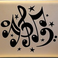 Musical Treble Clef Bass Clef Music Notes Vinyl Decal Mac PC Laptop