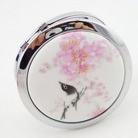 Good looking Chinese art mirror  ceramic and  metal compact portable cosmetic mirror  makeup mirror