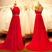 Long prom dress,red prom dress,backless prom dress,chiffon prom dress,beading prom dress,ball gown prom dress,sleeveless prom dress.