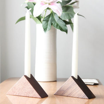 Triangle Single Taper Holder- Walnut Taper Candle Holders, Modern Candle Holders, Taper Candle Holders, Wooden Candle Holders