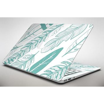 Teal Feather Pattern - Apple MacBook Air or Pro Skin Decal Kit (All Versions Available)