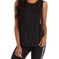 Black Combo Dropped Armhole Racerback Tank Top by Charlotte Russe