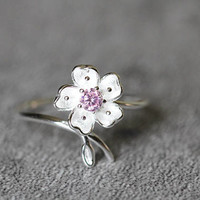 Cherry Blossom Ring, Sterling Silver Flower Ring, adjustable ring, Cubic Zirconia Ring, Zircon ring, Flower jewelry, gifts for her