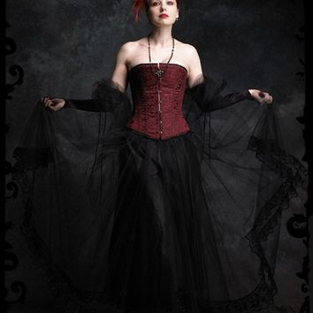 Poetes Long Layered Gothic Skirt / Petticoat - Custom Elegant Gothic Clothing and Dark Romantic Couture