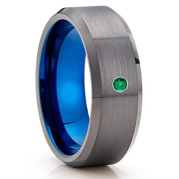 Emerald Tungsten Wedding Band - Gunmetal Ring - Gray Tungsten Ring - Brush Ring