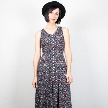 Vintage Soft Grunge Dress 1990s Dress 90s Dress Navy Blue Liberty Boho Floral Print Midi Dress Lace Up Back Sundress Maxi Dress XS S Small M
