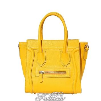 Yellow Genuine Italian Leather Handbag with Long Shoulder Strap