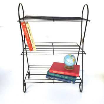 Mid-Century Black Metal Plant Stand, Book Stand