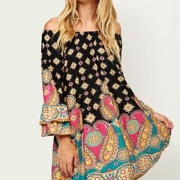 Paisley Dream Off Shoulder Tunic Dress