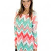 Peach And Mint Chevron Top