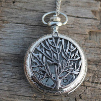 The silver tree of life Pocket Watch Necklace Pendant by hannahome