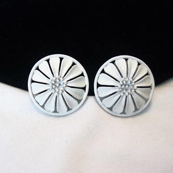 Monet Geometric Earrings White Enamel Flower Medallion Gold Plate Vintage Clip-on