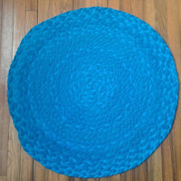Blue Rug, Braided Rug, Round Braided Rug, Upcycled Tshirt Rug, Recycled Tshirt Rug, Bright Blue Rug, Handmade Rug, Blue Home Decor