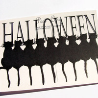 Black Cat Cards - Set Of 4 - Halloween Cards - Vintage Look - Holiday Postcards - Cat Cards - Animal Cards - Vintage Halloween - All Hallows