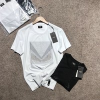 FENDI Men Simple Casual Fashion Hot Fix Rhinestone Pattern Round Neck Short Sleeve T-shirt Top Tee