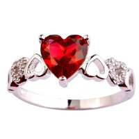 Psiroy 925 Sterling Silver Stunning Created Gorgeous Women's 7mm*7mm Heart Cut CZ Rainbow Topaz Filled Ring