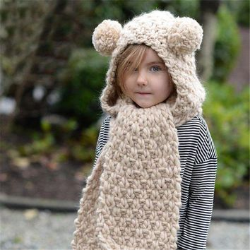 CUPUP3F Winter Children Knit Scarf Hats