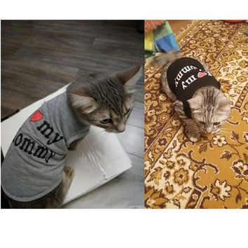 Cute Cat Clothes Cotton Polyester Shirt Clothes For Cats Spring Summer Costume Pet Clothing Vest For Cats Love Mommy Daddy Cloth