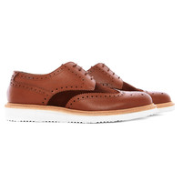 DB105 -  Tan textured leather brogue with wedge sole