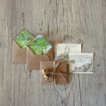 Vintage map envelopes - set of 5 crafted small mini envelopes with cards - letter writing paper - green brown rustic - europeanstreetteam