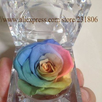 MDIG57D Free shipping,Preserved rose eternal flower ring box colorful roses,Key chain,Valentine's Day gift,natural,real.Christmas gift