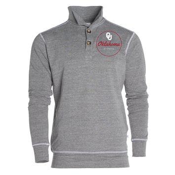 Grey Official NCAA University Of Oklahoma Sooners Ou Boomer Sooner Women's 1/4 Button Pullover