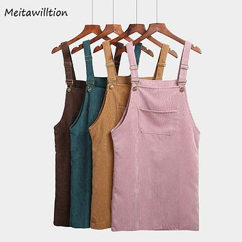 2018 Spring Autumn Women Dress Sarafan Fashion Korean Vintage Sundress College Wind Corduroy Strap Dress Female Solid Midi Dress