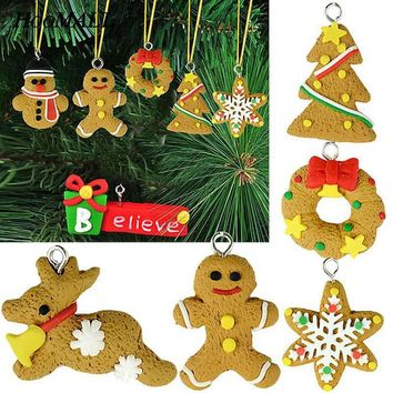 Hoomall 6PCs/lot 5cm Ginger Snowflake Pendants Christmas Tree Handmade Hangings Ornament Decor New Year Decoration For Home