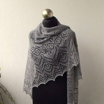 Grey hand knitted lace shawl with nupps