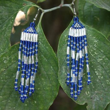 Hand Beaded Earrings - Cobalt And Silver - Native American Inspired - Gift For Her - Tribal - Boho - Hippie - Blue And Silver