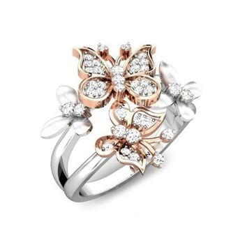 925 Sterling Silver Floral 18K Rose Gold Butterfly Flower Diamond Cocktail Ring