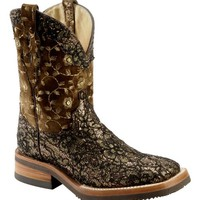 Ferrini Black & Gold Floral Overlay Cowgirl Boots - Wide Square Toe - Sheplers