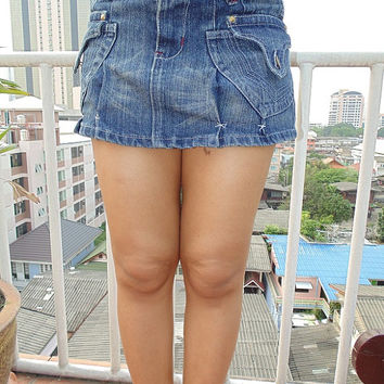 Vintage Recycled Blue Jeans Mini Skirt Fancy large Pockets Ripped Design Very Sexy