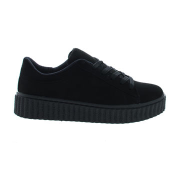 Caleb02 Black By Wild Diva, Lace Up Sneaker w Rubber Texture Ridges Thick Platform Sole