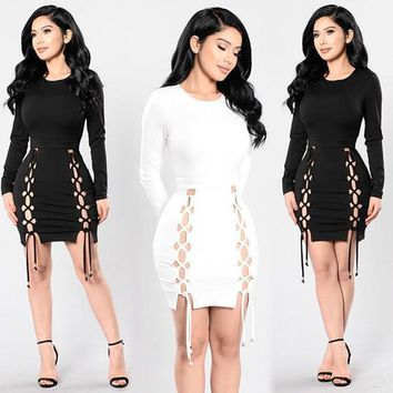 2017 New Women dress Mesh Lace Up Cross Criss Hollow Out Celebrity Style Bandage party Dresses