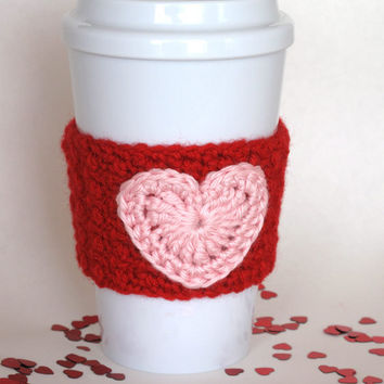 Crocheted Valentine Heart Coffee Cup Cozy Handmade