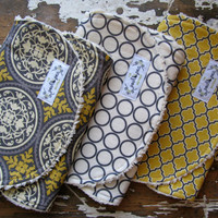 Gender Neutral Baby Burp Cloths - Set of 3 - Grey Scrollwork, Grey Circles and Gold Lattice