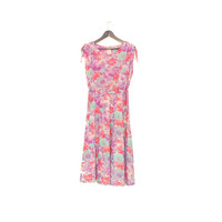 Sleeveless Purple Pink Floral Dress, Feminine A-line Vintage Dress With Belt, Draped Shoulder Dress