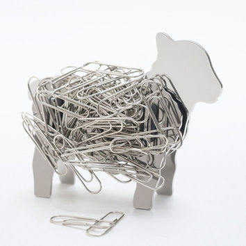 Lamb Design Desk Top Stainless Steel Magnet Paper Clip Holder