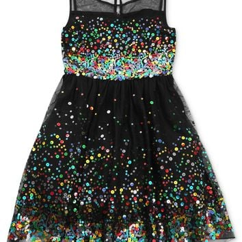 Speechless Girls Dress, Girls Sequin Illusion Dress - Kids Girls 7-16 - Macy's