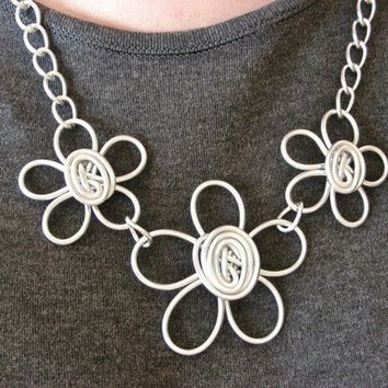 Triple Daisy Necklace  Choose Your Own COLOR by refreshingdesigns