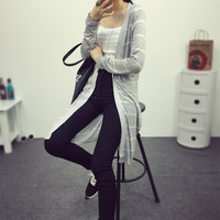Casual long striped cardigan
