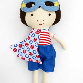 SUPERHERO, dolls, nautical decor, navy decor, fabric doll, sailor doll, boydoll, doll for boys, ragdoll, cloth doll, handmade dolls, sailor