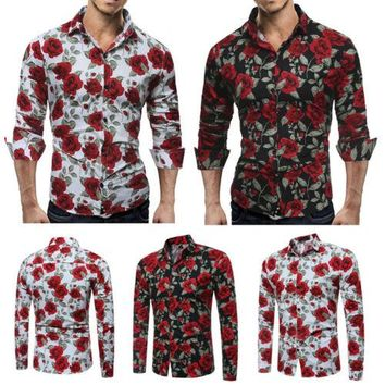 Mens Polo Shirts Floral Rose print Slim Fit Top Long-Sleeve