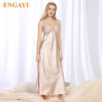 ESBONJ ENGAYI Brand Long Women Summer Night Dress Plus Size Sexy Lace Nightgown Silk Satin Nightdress Night Gown Nightwear CQ311