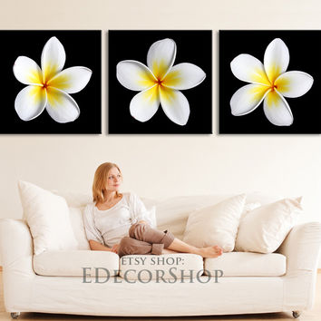 Panorama 3 Panel White Flower Canvas Print | +Ready to Hang + Framed