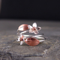 Plumeria Adjustable Ring Copper leaf and Plumeria by HapaGirls